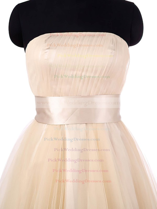 A-line Strapless Asymmetrical Tulle with Sashes / Ribbons Fashion Bridesmaid Dresses #PWD01012964