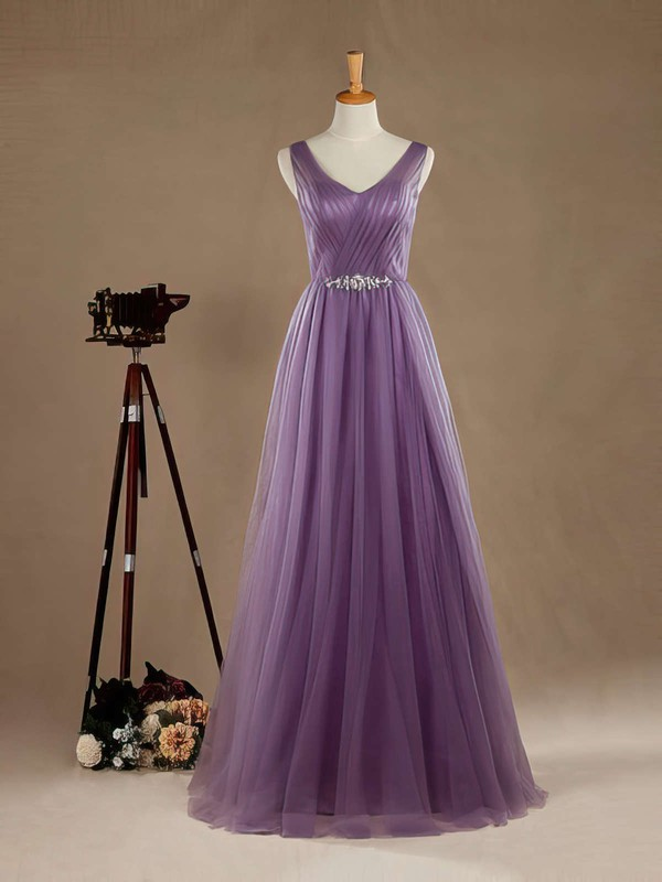 A-line V-neck Tulle Floor-length Beading Open Back Graceful Bridesmaid Dresses #PWD01012965