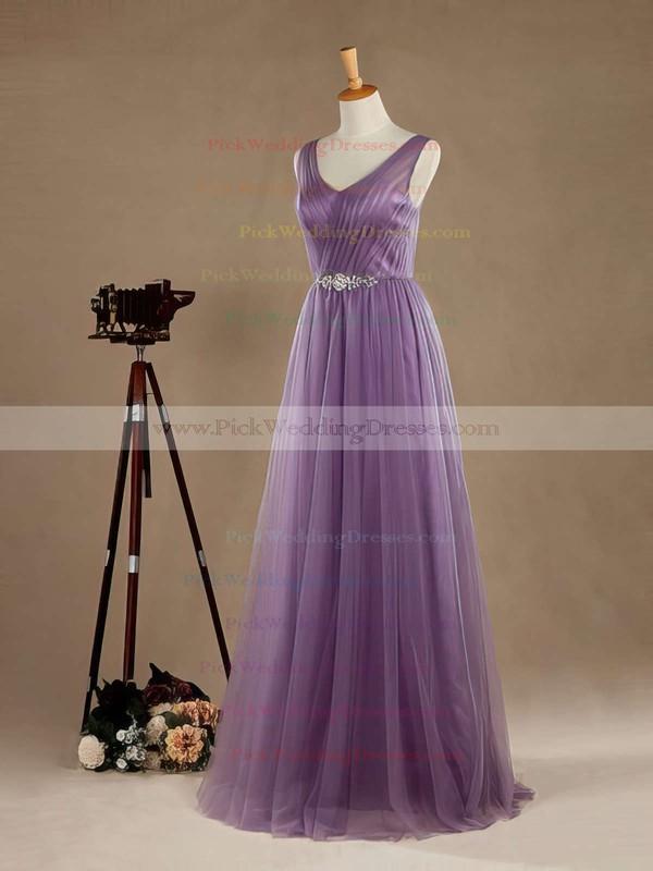 A-line V-neck Tulle Floor-length Beading Open Back Graceful Bridesmaid Dresses #PWD01012965