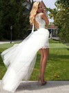 New Style Scoop Neck Sheath/Column Lace Tulle Ruffles Open Back Detachable Wedding Dresses #PWD00022524