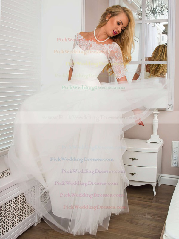 New Arrival A-line Scoop Neck Tulle with Lace Floor-length 1/2 Sleeve White Wedding Dresses #PWD00022525