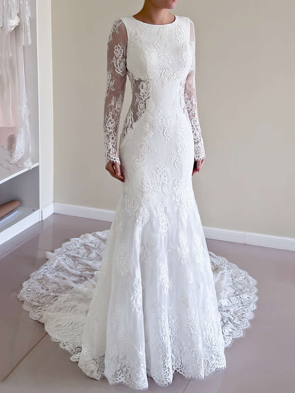 Backless Trumpet/Mermaid Scoop Neck Lace Court Train Long Sleeve Newest Wedding Dresses #PWD00022527