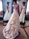 New A-line Scalloped Neck Lace with Sashes / Ribbons Watteau Train Wedding Dresses #PWD00022528