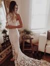 Trumpet/Mermaid Scoop Neck Lace Court Train Open Back Unique Wedding Dresses #PWD00022529