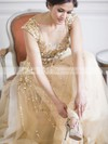 Exclusive A-line Scoop Neck Tulle Crystal Detailing Sweep Train Champagne Wedding Dresses #PWD00022530