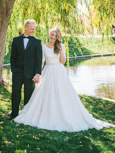 Elegant A-line Scoop Neck Lace with Sashes / Ribbons Sweep Train 1/2 Sleeve Wedding Dresses #PWD00022531