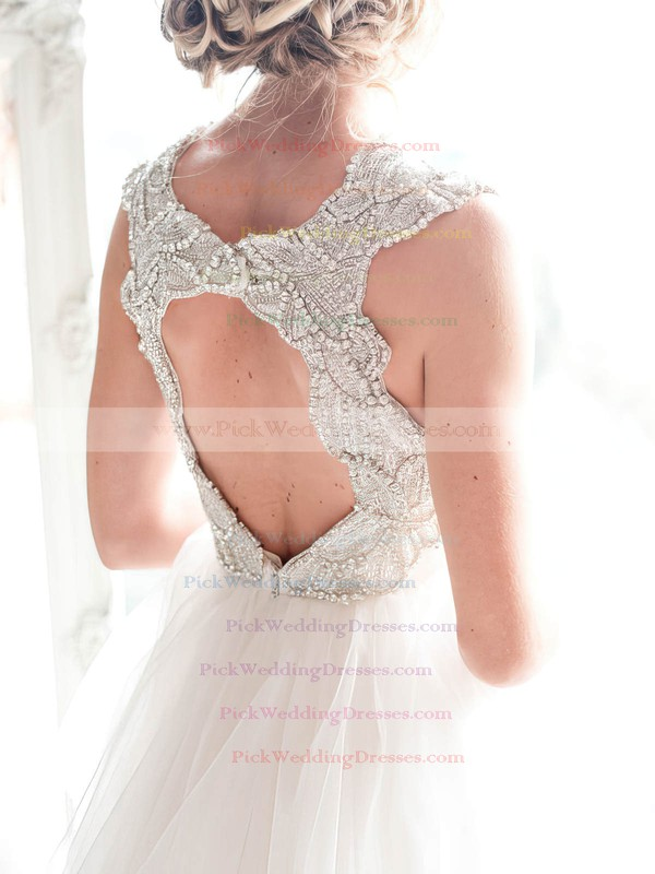 A-line V-neck Tulle with Beading Sweep Train Different Open Back Wedding Dresses #PWD00022532