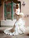 Trumpet/Mermaid Strapless Organza Cascading Ruffles Court Train Modest Wedding Dresses #PWD00022533