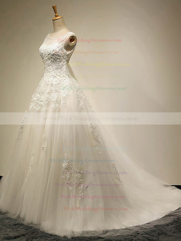 Graceful Scoop Neck Tulle Appliques Lace Court Train Ball Gown Wedding Dresses #PWD00022534