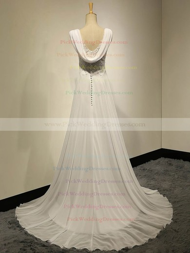 Ivory Sweetheart Chiffon Appliques Lace Sweep Train Empire Simple Wedding Dresses #PWD00022536