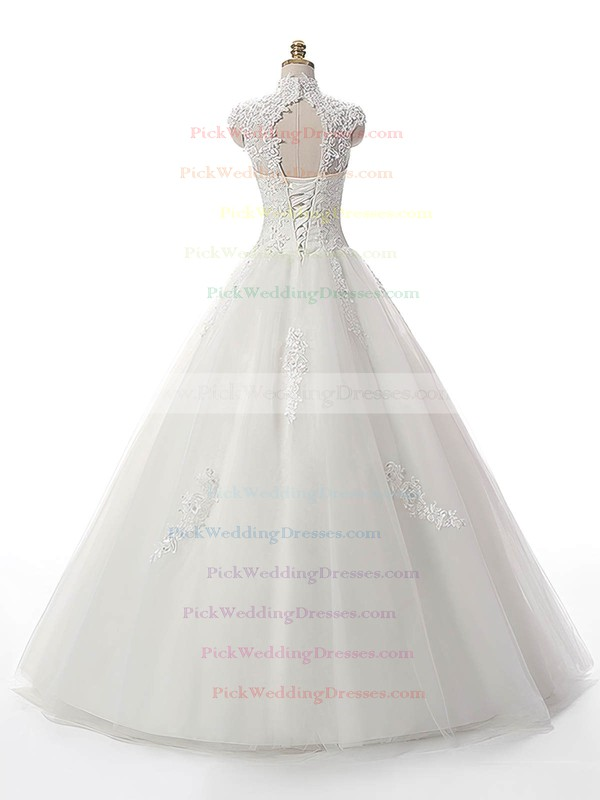 Noble Ball Gown Tulle Appliques Lace Floor-length White High Neck Wedding Dresses #PWD00022537