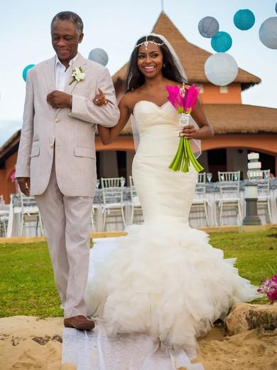Modern Sweetheart Tulle Cascading Ruffles Sweep Train Trumpet/Mermaid Backless Wedding Dresses #PWD00022538