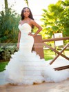 Modern Sweetheart Tulle Cascading Ruffles Sweep Train Trumpet/Mermaid Backless Wedding Dresses #PWD00022538