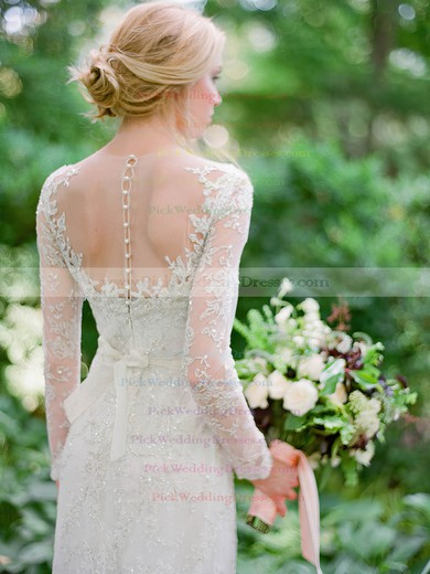 Scoop Neck Floor-length Sheath/Column Tulle Appliques Lace Long Sleeve Fashion Wedding Dresses #PWD00022539