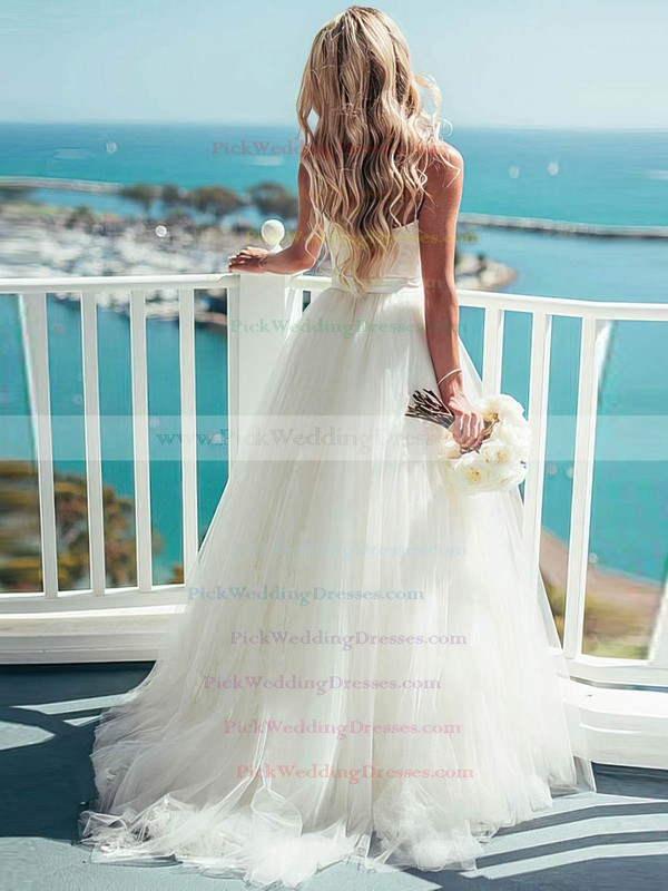 Trendy A-line Sweetheart Tulle with Sashes / Ribbons Sweep Train Ivory Wedding Dresses #PWD00022540