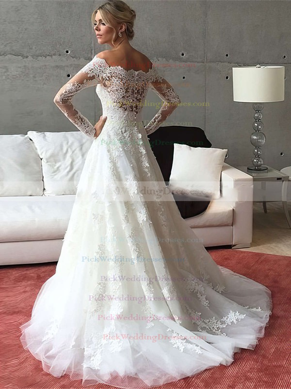 Off-the-shoulder A-line Tulle Appliques Lace Sweep Train Long Sleeve Popular Wedding Dresses #PWD00022541