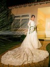 Beautiful A-line Scoop Neck Tulle Appliques Lace Chapel Train Long Sleeve Wedding Dresses #PWD00022542