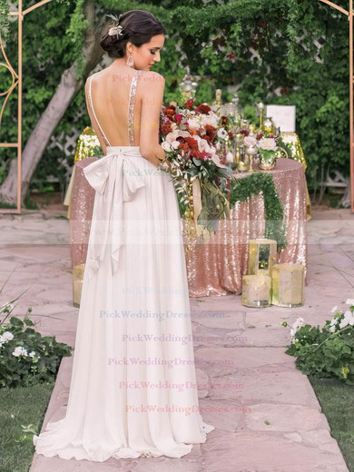 Sparkly A-line V-neck Chiffon with Sequins Sweep Train Backless Wedding Dresses #PWD00022544