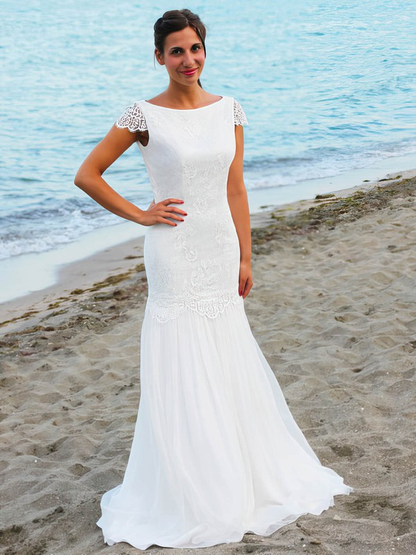Trumpet/Mermaid Scoop Neck Chiffon with Lace Floor-length Open Back Fabulous Wedding Dresses #PWD00022545