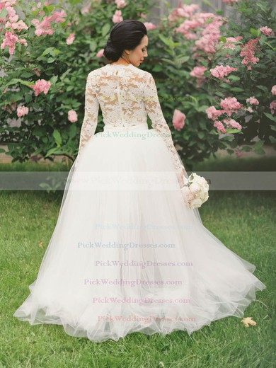Asymmetrical A-line Scalloped Neck Tulle Appliques Lace Long Sleeve Two Piece Wedding Dresses #PWD00022546