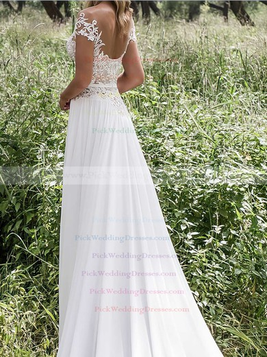 Scoop Neck Sheath/Column Chiffon Tulle Appliques Lace Sweep Train Perfect Wedding Dresses #PWD00022547