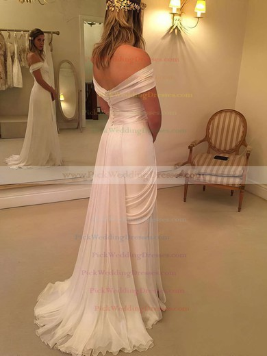 Famous Off-the-shoulder Sheath/Column Chiffon Lace Watteau Train Backless Wedding Dresses #PWD00022548