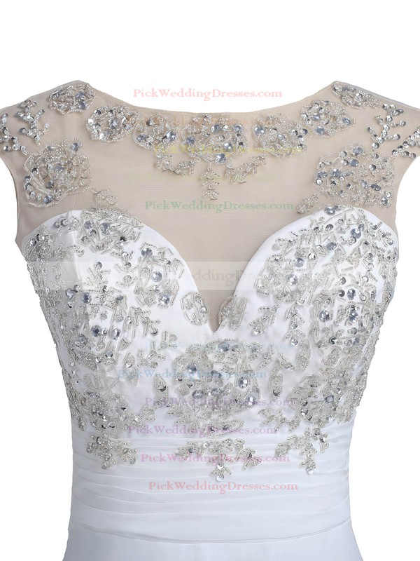 Nice White A-line Scoop Neck Chiffon Tulle with Beading Sweep Train Open Back Wedding Dresses #PWD00022549