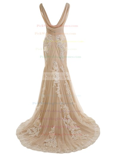Trumpet/Mermaid V-neck Tulle Appliques Lace Sweep Train Backless Original Wedding Dresses #PWD00022550