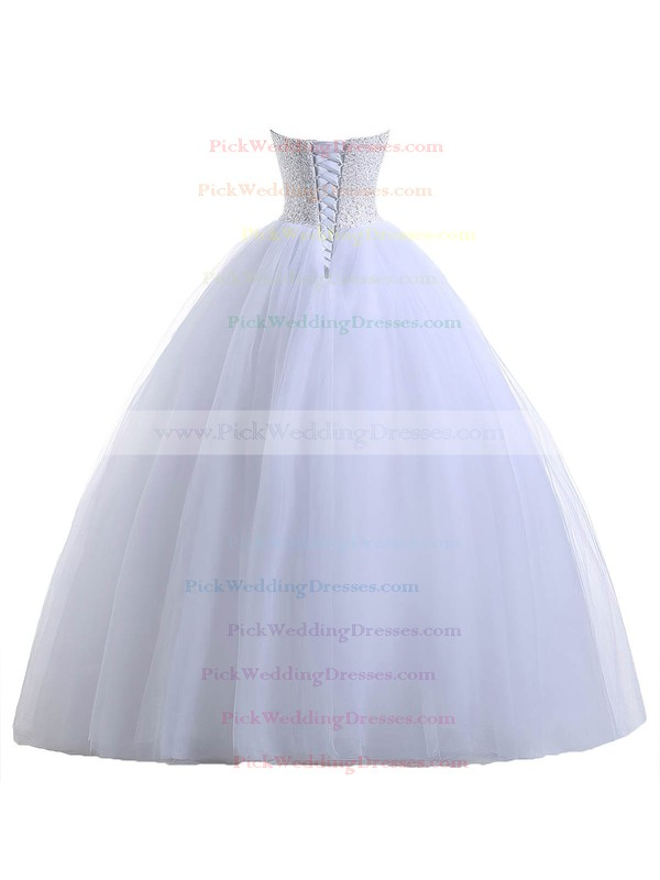 Custom Sweetheart Tulle with Beading Floor-length Lace-up Ball Gown Wedding Dresses #PWD00022551