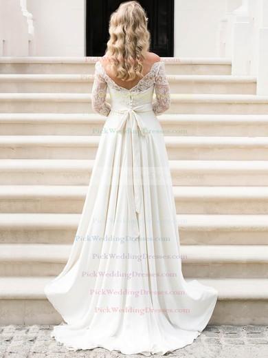 A-line Scalloped Neck Lace Chiffon Sashes / Ribbons Sweep Train 3/4 Sleeve Amazing Wedding Dresses #PWD00022552