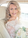 A-line Scalloped Neck Lace Chiffon Sashes / Ribbons Sweep Train 3/4 Sleeve Amazing Wedding Dresses #PWD00022552