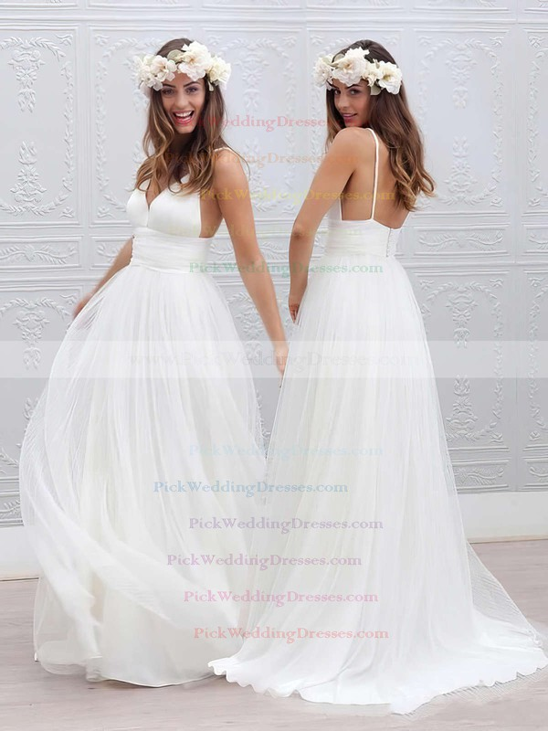 A-line V-neck Tulle with Pleats Sweep Train Backless Modern Wedding Dresses #PWD00022553