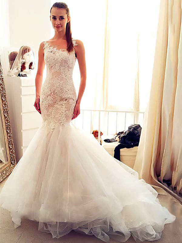 Stunning Trumpet/Mermaid Scoop Neck Tulle Appliques Lace Chapel Train Ivory Wedding Dresses #PWD00022554