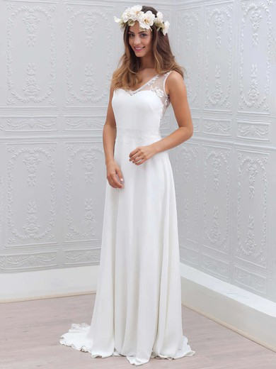 V-neck Sheath/Column Lace Chiffon with Sashes / Ribbons Sweep Train White Classy Wedding Dresses #PWD00022555