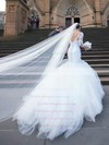New Trumpet/Mermaid V-neck Tulle Appliques Lace Court Train 3/4 Sleeve Backless Wedding Dresses #PWD00022556
