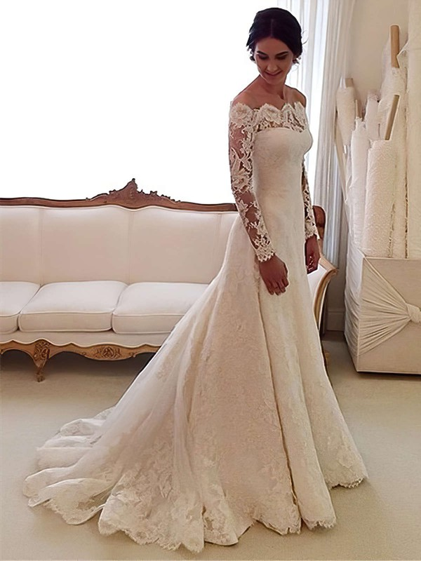 Top A-line Lace Tulle Appliques Lace Watteau Train Off-the-shoulder Long Sleeve Wedding Dress #PWD00022557