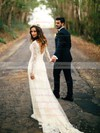 V-neck Sheath/Column Lace Tulle Sweep Train Appliques Lace Long Sleeve Backless Best Wedding Dress #PWD00022558