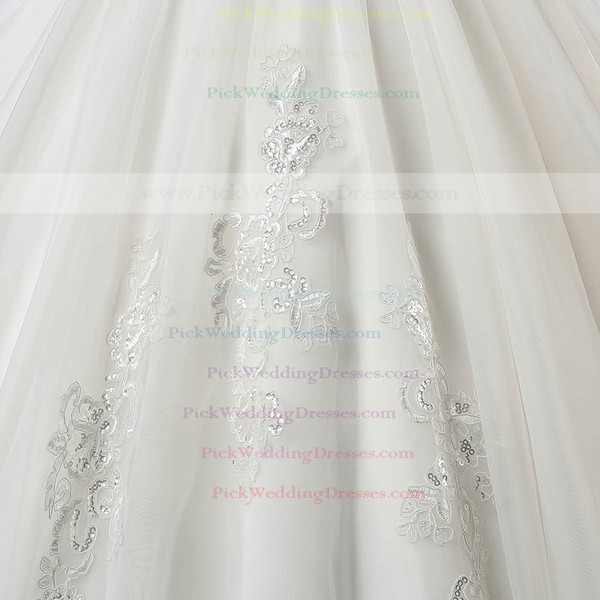 Off-the-shoulder Ball Gown Organza with Beading Court Train Short Sleeve Online Wedding Dress #PWD00022559