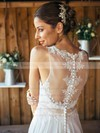 Discounted A-line Scoop Neck Chiffon with Appliques Lace Sweep Train White Wedding Dresses #PWD00022561