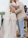 Open Back Trumpet/Mermaid Off-the-shoulder Lace Watteau Train Long Sleeve Exclusive Wedding Dress #PWD00022562