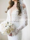 Open Back Trumpet/Mermaid Off-the-shoulder Lace Watteau Train Long Sleeve Exclusive Wedding Dress #PWD00022562