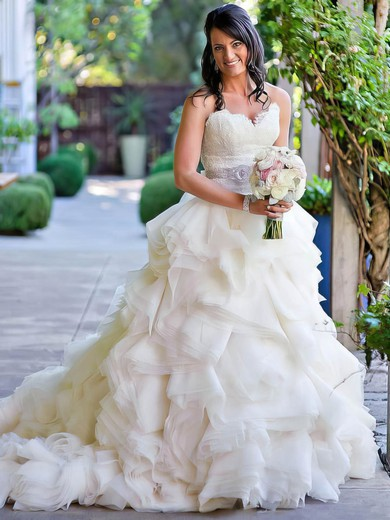 A-line Sweetheart Organza with Appliques Lace Court Train Beautiful Wedding Dresses #PWD00022563