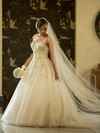 Fabulous A-line Scoop Neck Tulle with Appliques Lace Sweep Train Wedding Dresses #PWD00022564