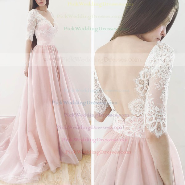 New Style A-line V-neck Lace Tulle Sweep Train 1/2 Sleeve Backless Wedding Dresses #PWD00022565