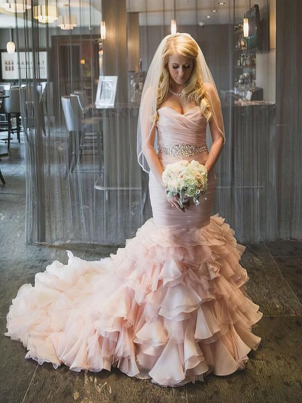 Trumpet/Mermaid Sweetheart Organza Cascading Ruffles Court Train Unique Wedding Dress #PWD00022566