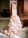 Trumpet/Mermaid Sweetheart Organza Cascading Ruffles Court Train Unique Wedding Dress #PWD00022566