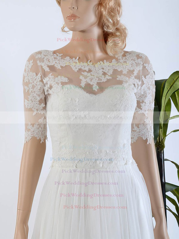 Wholesale A-line Scoop Neck Tulle Chiffon Appliques Lace Sweep Train 1/2 Sleeve Wedding Dresses #PWD00022567