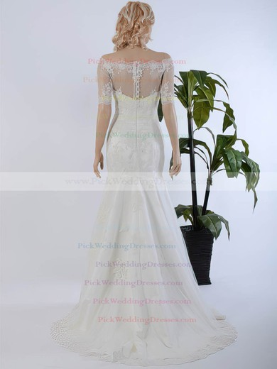Off-the-shoulder Trumpet/Mermaid Tulle Sweep Train Appliques Lace 1/2 Sleeve Wedding Dresses #PWD00022568