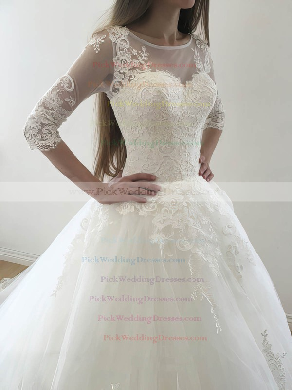 Promotion Princess Scoop Neck Tulle Appliques Lace Court Train 3/4 Sleeve Wedding Dresses #PWD00022569