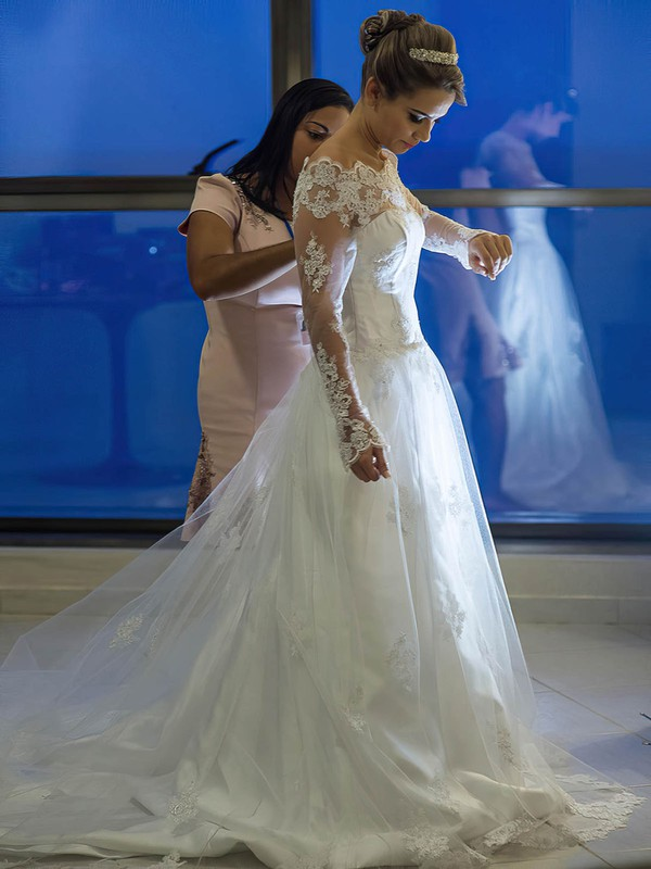 Ladies A-line Off-the-shoulder Tulle Appliques Lace Sweep Train Long Sleeve Wedding Dress #PWD00022570